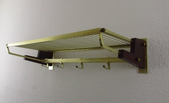 Holzgarderobe Brass-colored Coat Rack Metal And Teak Wood/ Messingfarbene