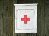 Vintage Industrial Inspired Medicine Cabinet, White, Red ...