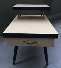 Mid Century Modern Formica Two 2 Tiered End Table Retro Blonde