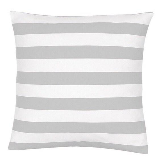 Gray And White Cotton Stripe Decorative Pillow Cover