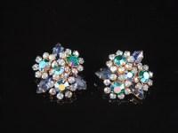 Blue Rhinestone Earrings Aurora Borealis Clip On Earrings