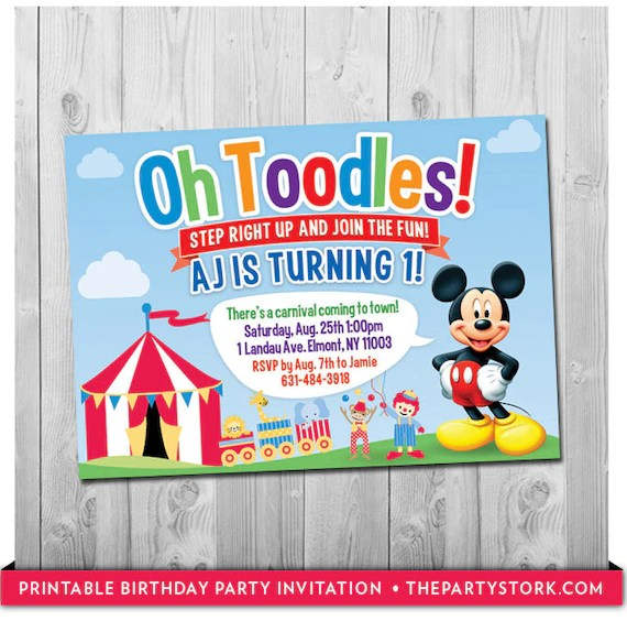 Mickey Mouse Birthday Invitation Carnival or Circus Party Theme - Circus Party Invitation