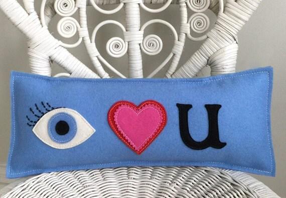 I Love You Pillow Eye Heart U In Light Blue Wool Felt
