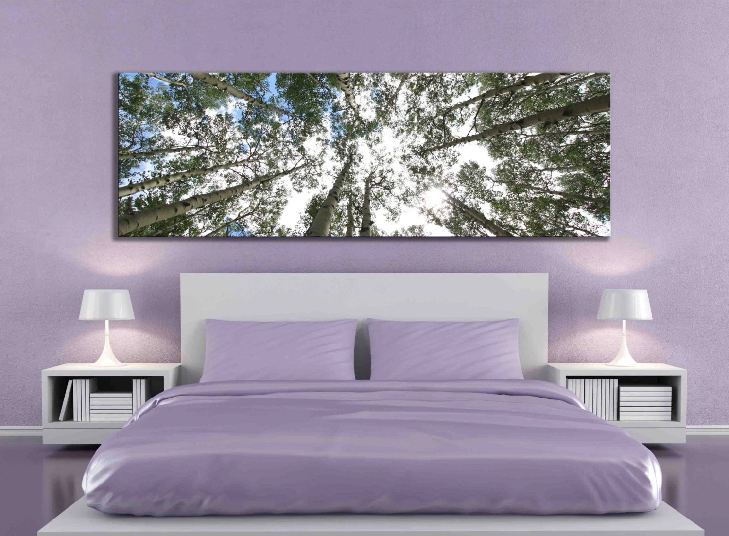 Wall Art Behind Bed Big Aspen Tree Photograph Large Panoramic Canvas Print Nature