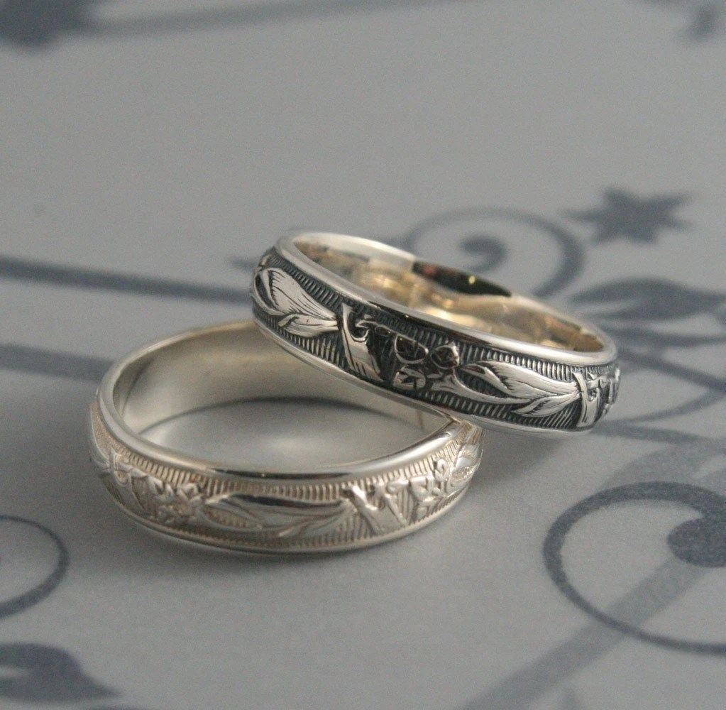 art deco wedding band art deco wedding band Vintage Style Ring Lily Nouveau Ring Men s Wedding Band Art Deco Ring Solid Silver Band Women s Wedding Ring Patterned Ring Floral Band