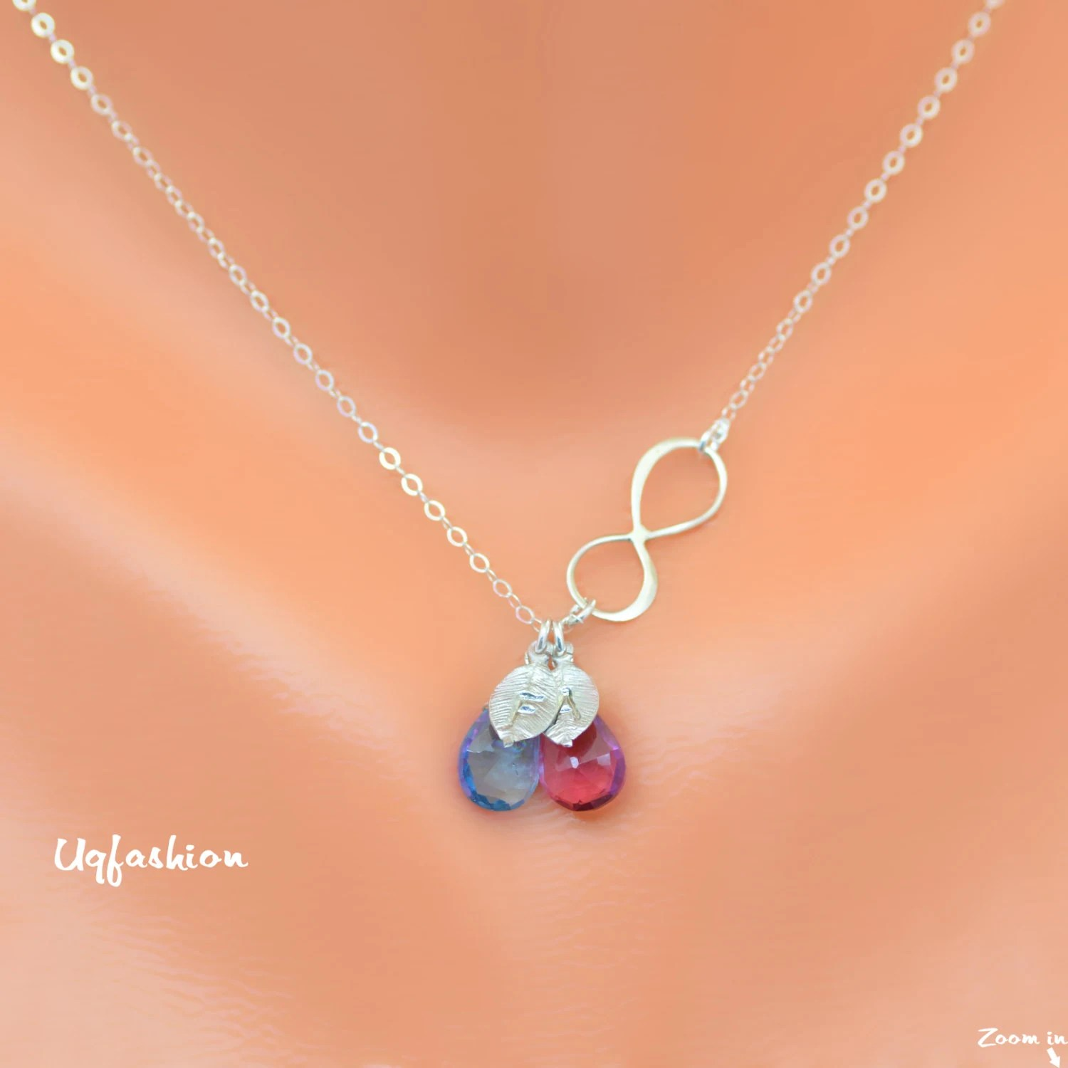 Two Initial Birthstone Necklace Infinity Necklace By Uqfashion