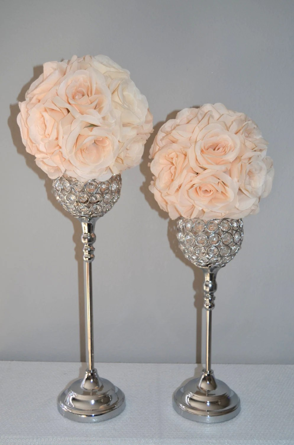 Set Of 2 Silver Bling Rhinestone Flower Ball Stands Or Candle