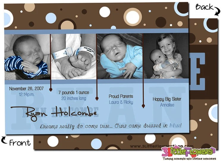 Baby Boy - Personalized Photo Birth Announcement Cards - 5 x 7