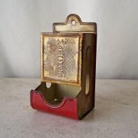 Vintage Match Box Holder Tin Match Box Holder by CynthiasAttic