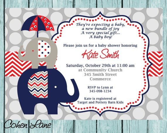 Blue and Red Elephant Baby Shower Invitation Printable Baby boy - Printable Baby Shower Invite