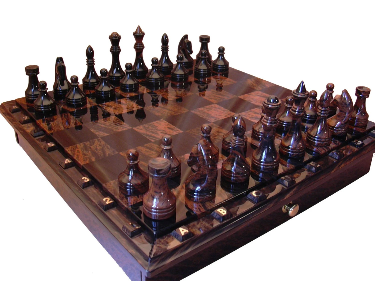 Outdoor Schachfiguren Black And Brown Obsidian Chess Set Board Game By