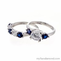 Faux Diamond and Sapphire Engagement and Wedding Ring Set in
