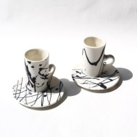 Modern Espresso cups with saucers black and white handmade
