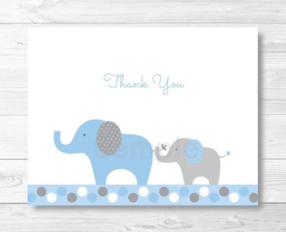 Elephant Thank You Card Elephant Baby Shower Polka Dot