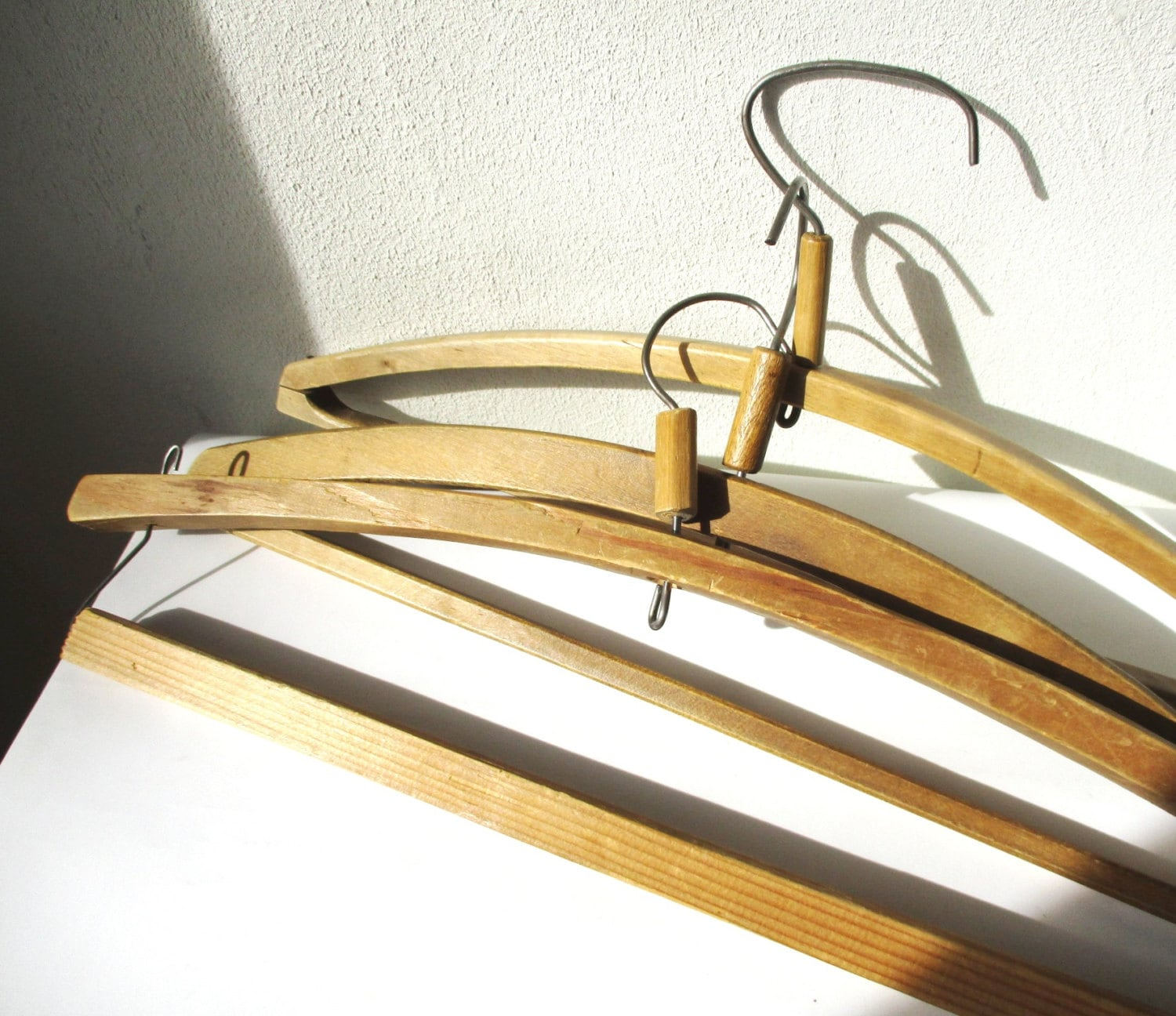 Wood Clothes Hangers Antique Set Of 3 Simple Unvarnished