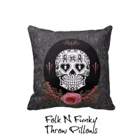 Throw Pillow Sugar Skull Pillows Pink Roses Black by