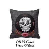 Throw Pillow Sugar Skull Pillows Pink Roses Black by