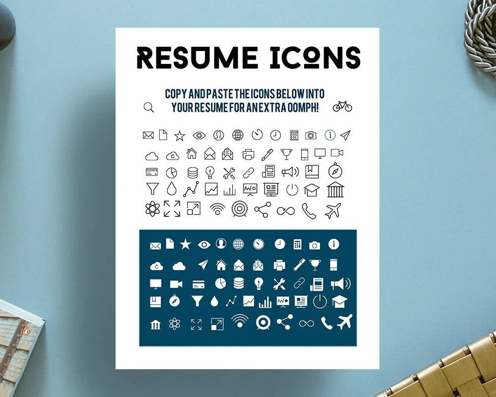 resume icons information