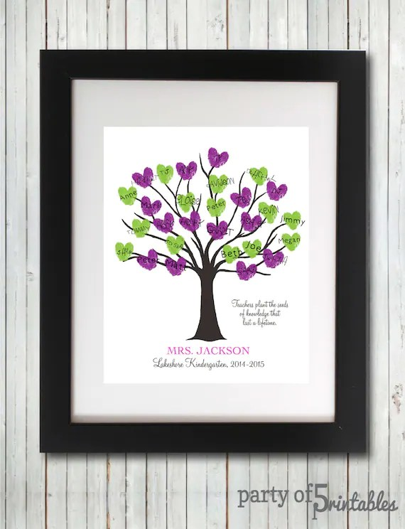 Teachers Gift Fingerprint Tree Teachers Plant Seeds Quote - payment received format