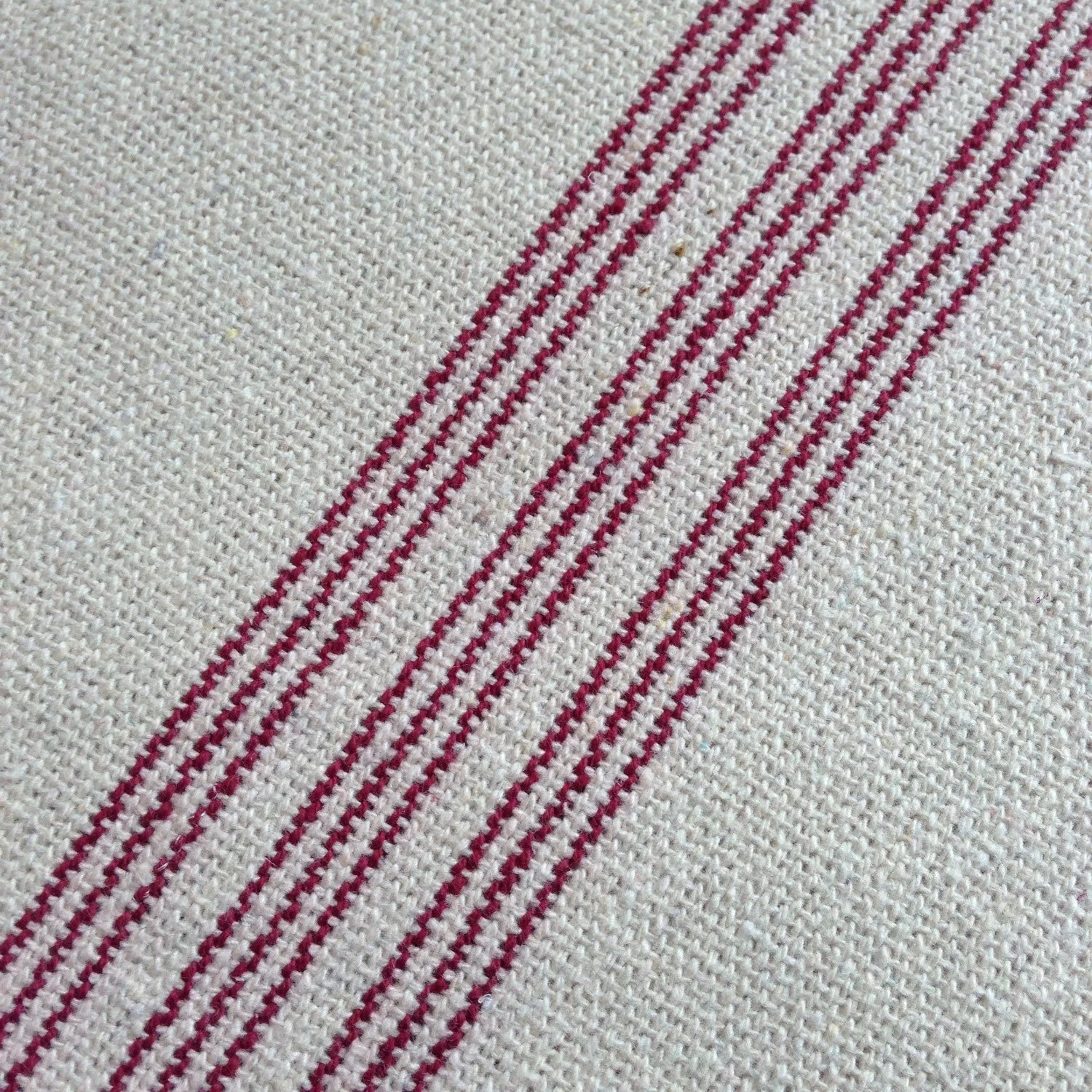 Flour Sack Fabric By The Yard Grain Sack Fabric Red Stripe Vintage Inspired Sold By The Yard