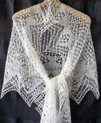 Handknit shetland lace white silk shawl. Knitted shawl lace