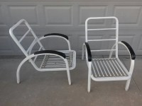 Vintage pair of outdoor patio Mid century lounge chairs ...