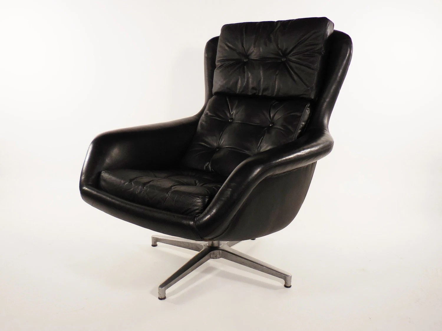swivel chair mid century kitchen chairs Mid Century Black Leather DUX Form 7 Swivel Lounge Chair by Alf Svensson