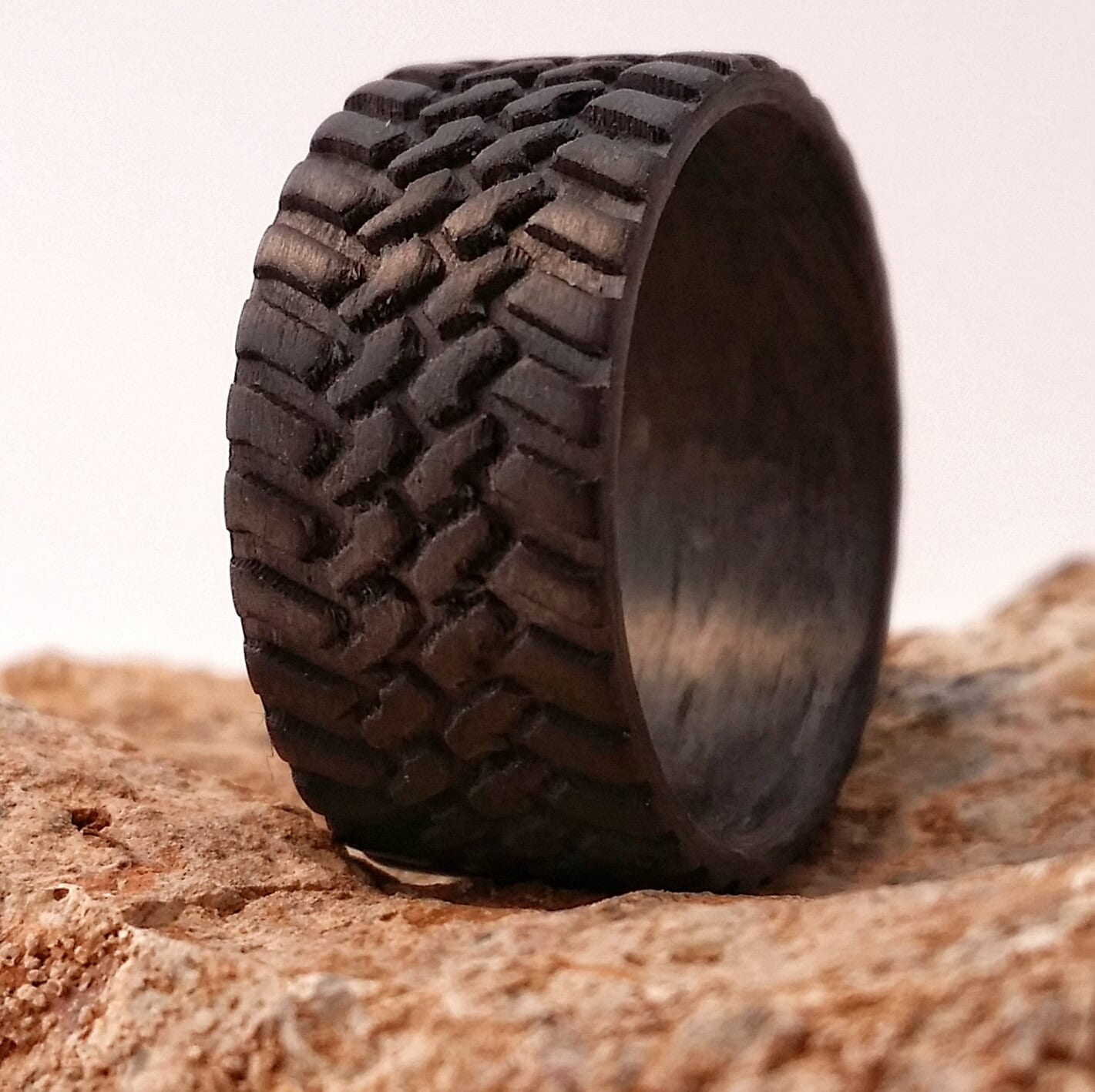 tire ring mud tire wedding ring Off Road 10mm wide Carbon Fiber Tread Ring Strong Light Weight Wedding Ring Comfort fit Durable Finish