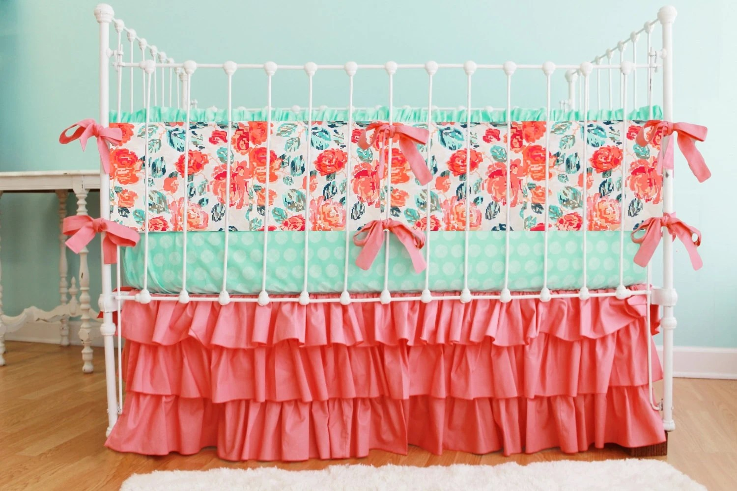 Coral Mint And Navy Baby Bedding Custom Baby Girl Bedding Set
