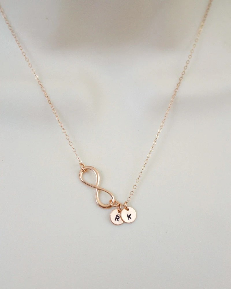 Rose Gold Infinity Necklace Initial Necklace Minimal