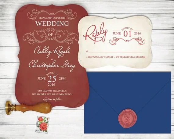 Maroon Wedding Invitation Set Rsvp Card Included