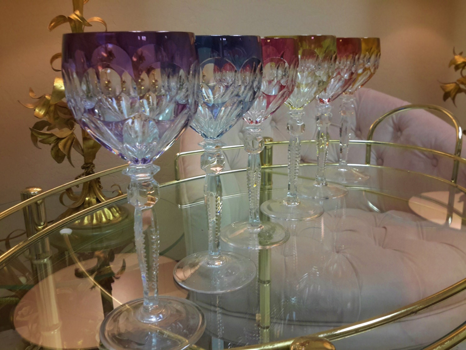 Cut Crystal Wine Glasses Colored Czech Crystal Stemware Set Of 6 Goblet Wine Hock Glass