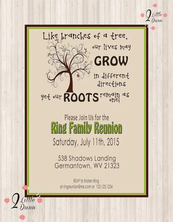 Family Reunion Invite - Swirly Tree - PRINTABLE DIGITAL INVITATION - invitations for family reunion