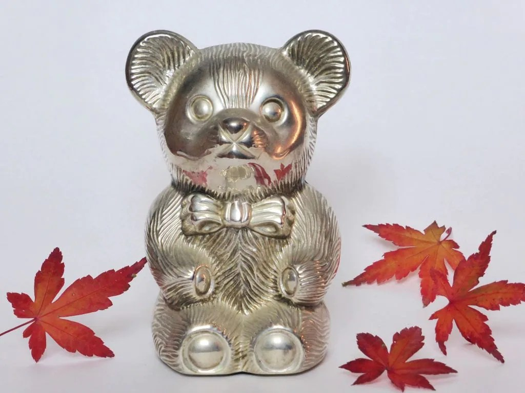 Silver Piggy Bank For Baby Silver Plated Teddy Bear Money Box Vintage Coin Bank