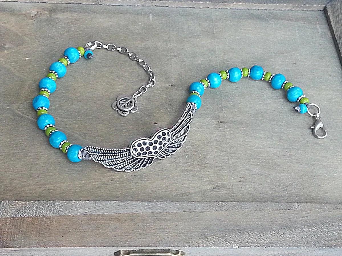 Hippie Ankle Bracelet Beaded Boho Anklet Wings Heart Blue