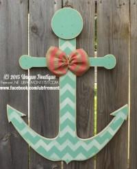 Wood Anchor Door Hanger Mint Green White by ...