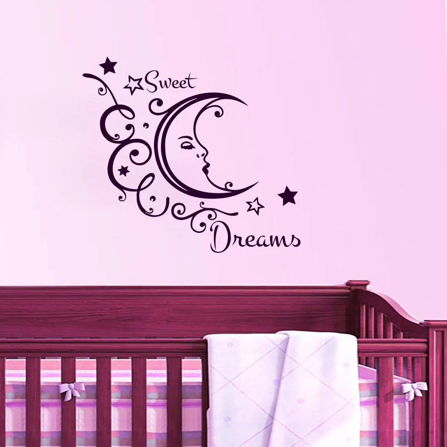 Wall Decals Sweet Dreams Decal Month Star Vinyl By Cozydecal