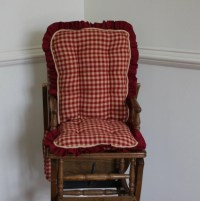 Red Homespun High Chair Cushions Wooden Highchair Cover.