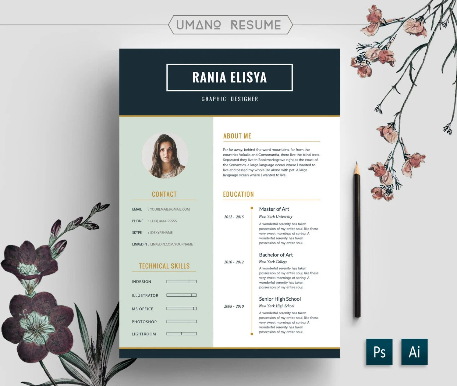 Photoshop Illustrator Or Indesign Dream Infinity Modern Resume Template Free Cover Letter For Word Ai