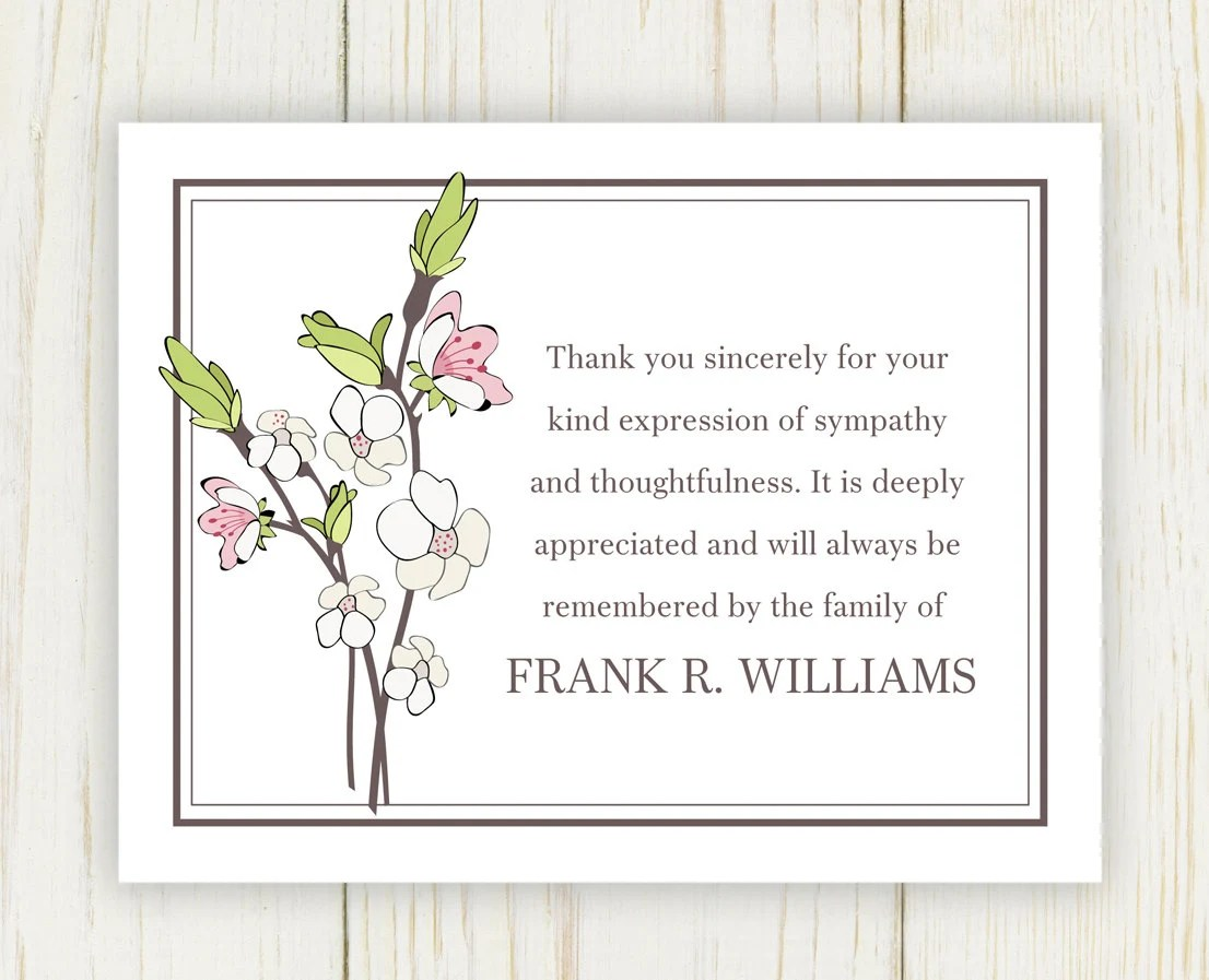 Cherry Blooms Funeral Thank You Card Digital file sympathy - funeral thank you note