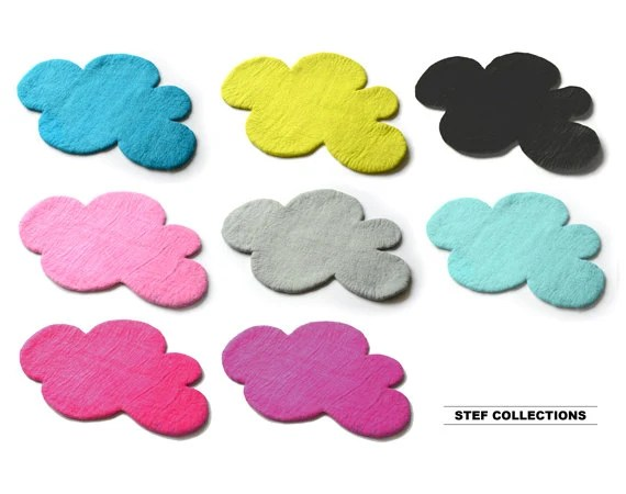 Cloud Rug Black Mint Felt Rug Kids Rug Nursery By