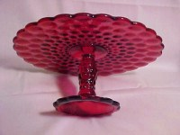 ON SALE NOW 32.00 Ruby Red Glass Cake Plate Cake by VICTORYRUN