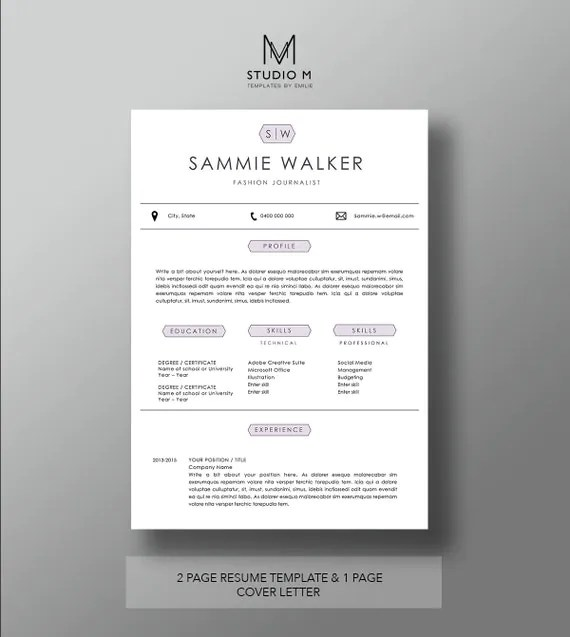 Modern resume template 2 Page Resume 1 Page Cover Letter - iwork resume templates