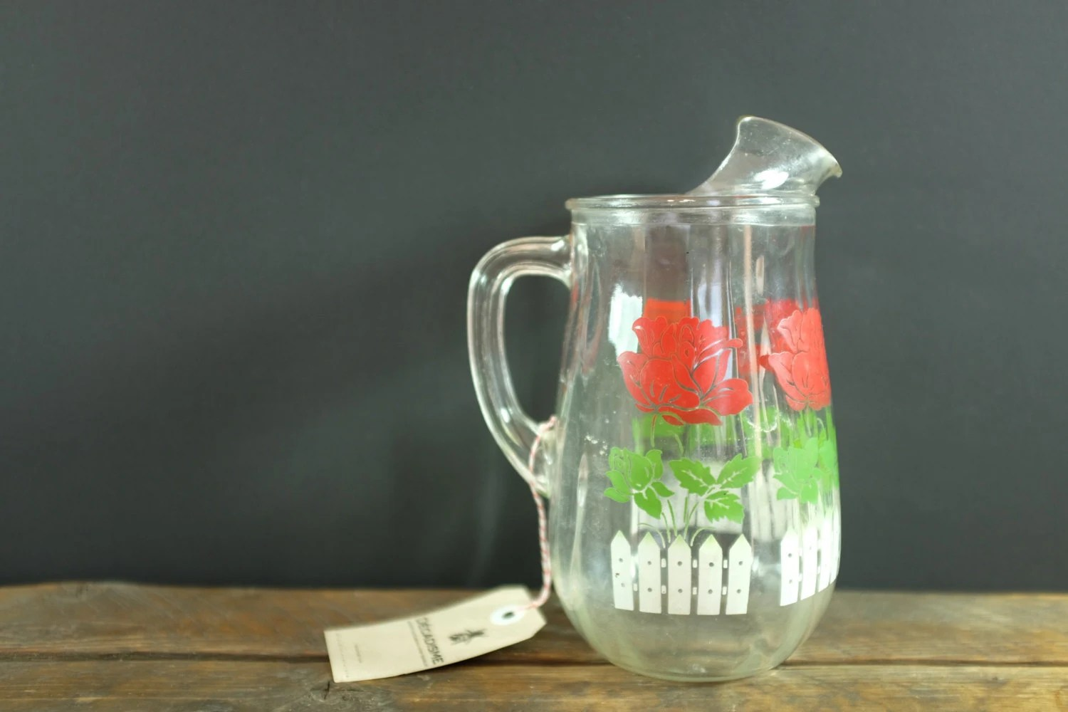 Large Glass Pitcher With Spout Vintage Glass Water Pitcher With An Ice Breaker Spout
