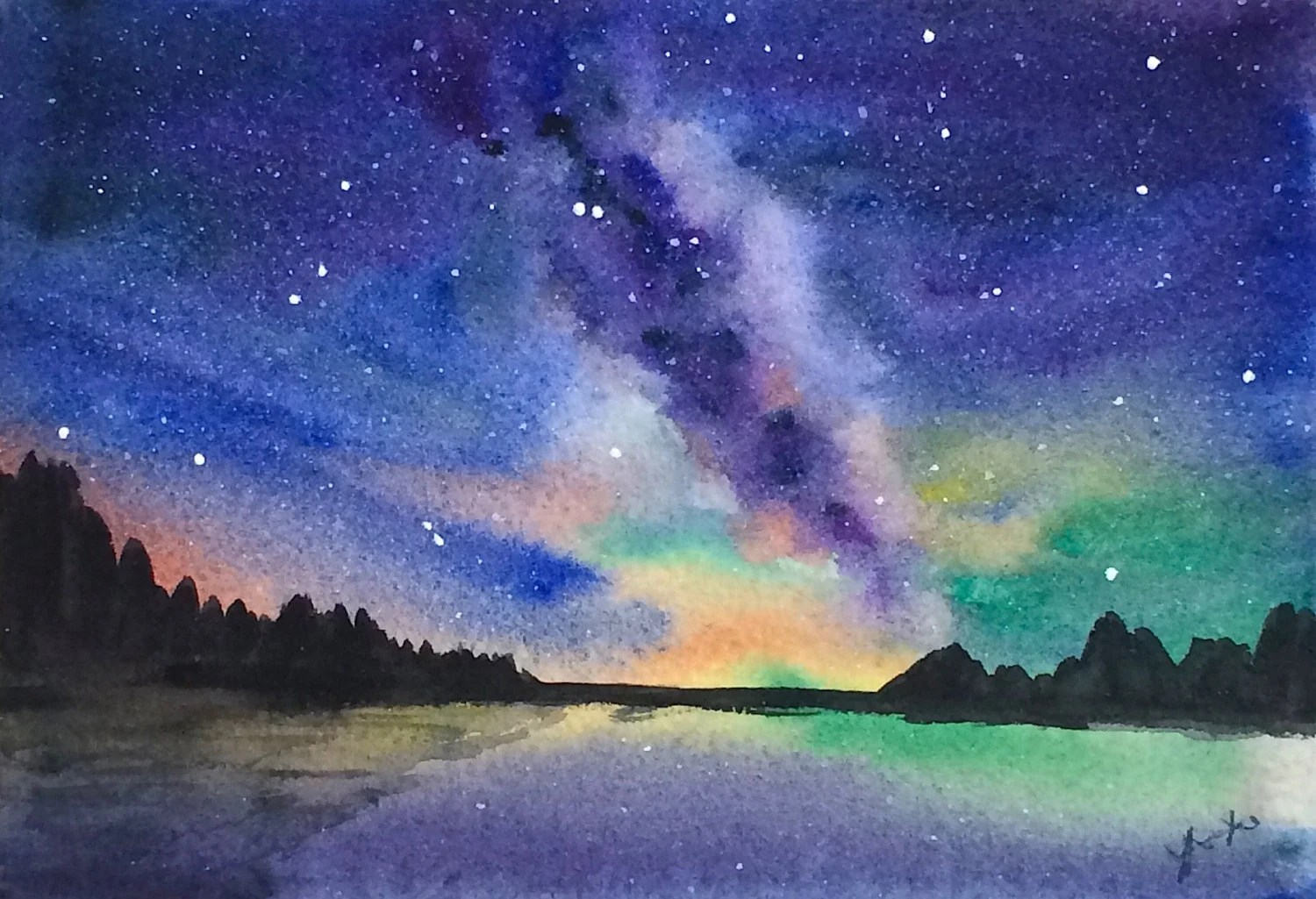 Falling In Love Hd Wallpapers Original Watercolor Landscape Painting 5x7 Milky Way Galaxy