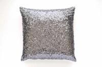 Gray Throw Pillow Cover Gunmetal Silver Sequin 20 x