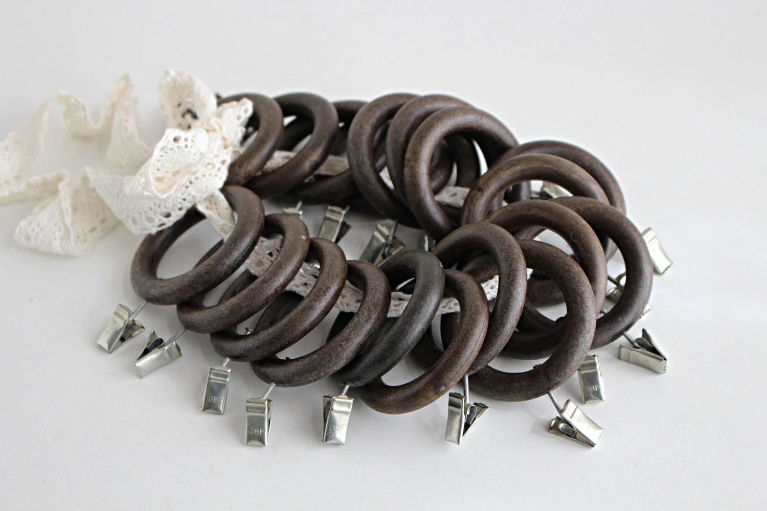 Dark Wood Curtain Rings Lot Of Vintage Curtain Rings With Clips Assorted Curtain