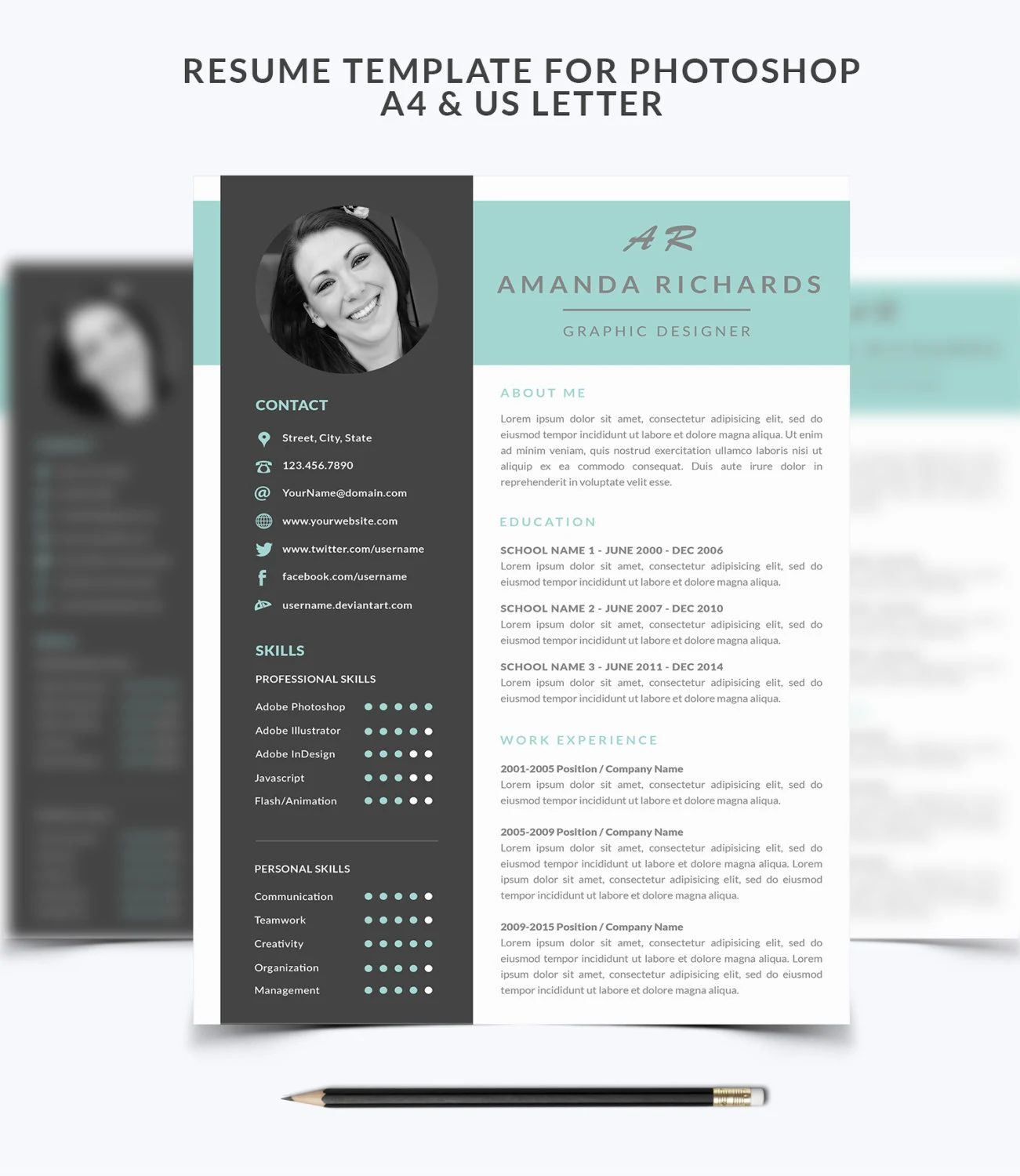 template cv integrateur photoshop