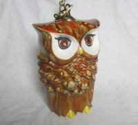 Stunning vintage ceramic owl pendant lamp