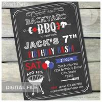 Birthday BBQ Invitation Chalkboard Barbecue Party Backyard